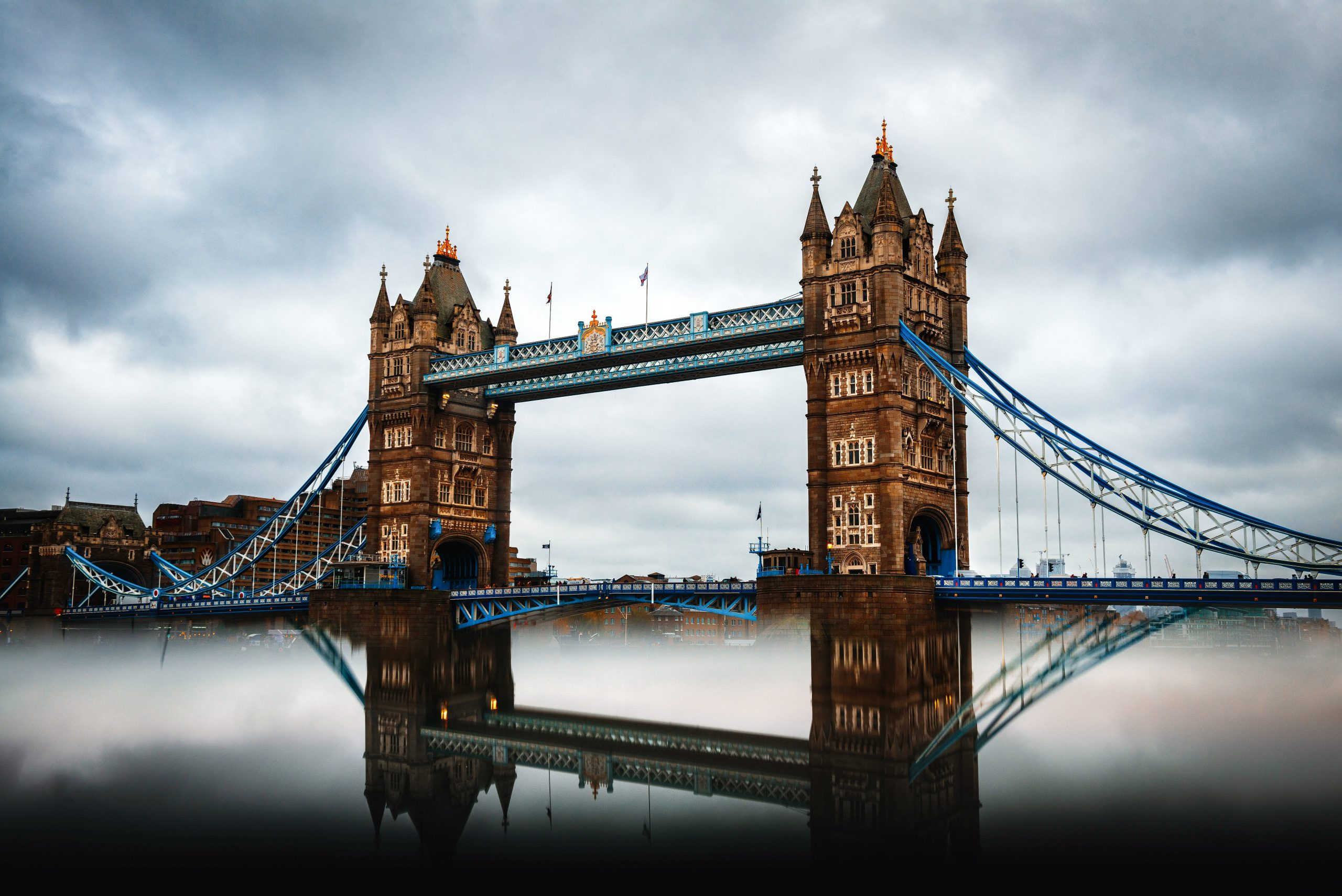 Tower bridge under gray sky